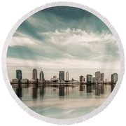 a look to New Jersey  Round Beach Towel