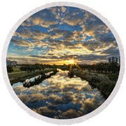 A Magical Marshmallow Sunrise  Round Beach Towel