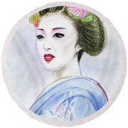 Round Beach Towel featuring the drawing A Maiko  Girl by Yoshiko Mishina