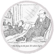 A Man On A Psychoanalyst Couch Says Round Beach Towel