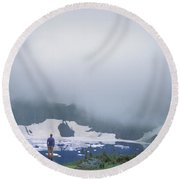 A Man Takes In The View At Iceberg Round Beach Towel