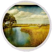 A Melancholy Afternoon Round Beach Towel