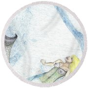 Round Beach Towel featuring the drawing A Mermaids Moment by Kim Pate