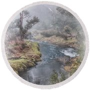 A Misty Morning In Bridgetown Round Beach Towel
