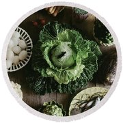 A Mixed Variety Of Food And Ceramic Imitations Round Beach Towel