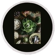 A Mixed Variety Of Food And Ceramic Imitations Round Beach Towel by Fotiades