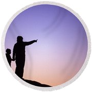 A Mother And Son Go Hiking Together Round Beach Towel