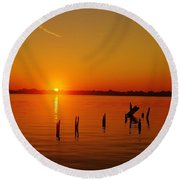 A New Day Dawns... Over Dock Remains Round Beach Towel