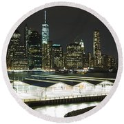 A New York City Night Round Beach Towel