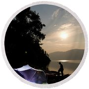 A Night Time Camping Scene Along A Lake Round Beach Towel