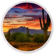 A Painted Desert  Round Beach Towel by Saija  Lehtonen