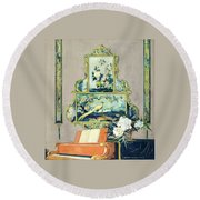 A Painting Of A House Interior Round Beach Towel