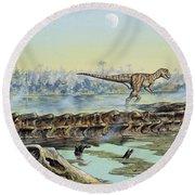 A Pair Of Allosaurus Dinosaurs Explore Round Beach Towel