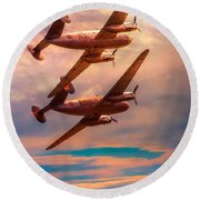 Round Beach Towel featuring the photograph A Pair Of Flamingos by Chris Lord
