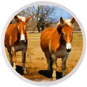 A Pair Of Mules  Digital Paint Round Beach Towel