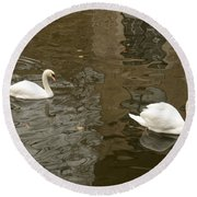 Round Beach Towel featuring the photograph A Pair Of Swans Bruges Belgium by Imran Ahmed