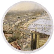 A Panoramic View Of London Round Beach Towel by English School