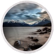 A Patch Of Blue Round Beach Towel by Aaron Aldrich