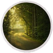 A Path To The Light Round Beach Towel
