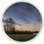 A Peaceful Sunset Round Beach Towel