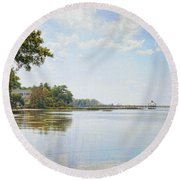 A Perfect Currituck Day Round Beach Towel