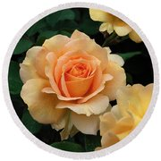 A Perfect Orange Rose Round Beach Towel by Eva Kaufman