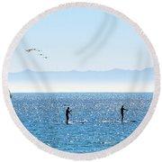 A Perfect Santa Barbara Day Round Beach Towel by Susan Wiedmann