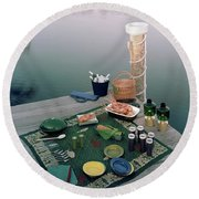 A Picnic Set Up On A Dock Round Beach Towel