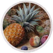 A Pineapple A Peach And Plums On A Mossy Bank Round Beach Towel by John Sherrin