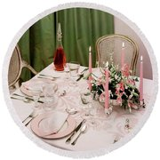 A Pink Table Setting Round Beach Towel