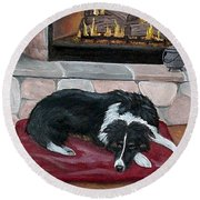 A Place By The Fire Round Beach Towel