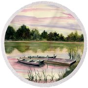 A Place In My Heart Round Beach Towel by Melly Terpening