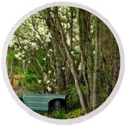 Round Beach Towel featuring the photograph A Place To Sit by Rodney Lee Williams
