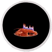 A Plate Of Lobster Flambe Round Beach Towel