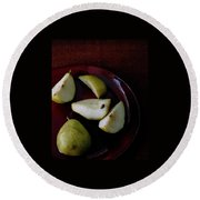 A Plate Of Pears Round Beach Towel