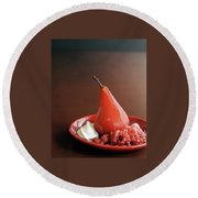 A Poached Pear Round Beach Towel