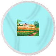 Round Beach Towel featuring the painting A Poppy Field by Magdalena Frohnsdorff