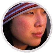 A Portrait  Headshot Of An Active Woman Round Beach Towel