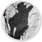A Portrait Shadow Of A Climber Moving Round Beach Towel