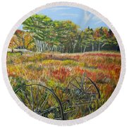 Round Beach Towel featuring the painting A Prairie Treasure by Marilyn  McNish