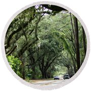 A Pretty Tree Covered Road Somewhere On Hilton Head Island Round Beach Towel by Kim Pate