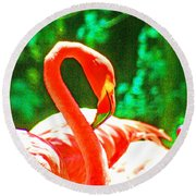 A Proud Flamingo Round Beach Towel