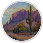 A Proud Saguaro At Superstition Mountain Round Beach Towel