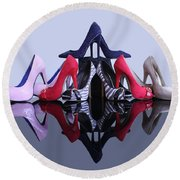 Round Beach Towel featuring the photograph A Pyramid Of Shoes by Terri Waters