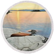Round Beach Towel featuring the painting A Quiet Time by Kenneth M Kirsch