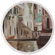 A Quiet Venice Canal Round Beach Towel