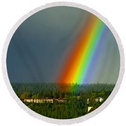 A Rainbow Blessing Spokane Round Beach Towel