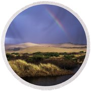 A Rainbow Over The Umpqua Dunes, Oregon Round Beach Towel