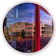 A Reflection Of Wausau's Grand Theater Round Beach Towel