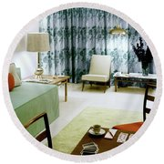 A Retro Bedroom Round Beach Towel